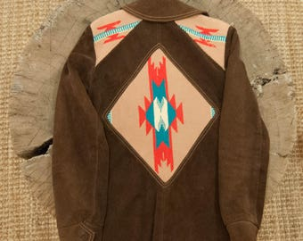 vintage Ms. Pioneer 70s leather suede woven tapestry chimayo shirt jacket southwestern hippie boho 34