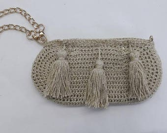 Knitted crocheted bag with leather details by Virsa Greece