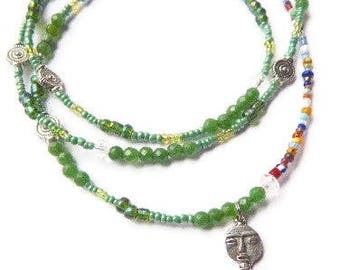 Akuaba Green Garnet Goddess Waistbeads, African Waist Beads, Green Waistbeads, African Goddess Waist Beads