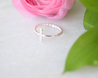 Sideways Cross Ring Sterling Silver • Sterling Silver Sideways Cross Jewelry • Handmade Unique Religious God Baptism Confirmation Gift