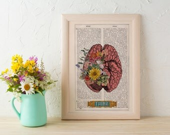 Summer Sale Human Brain THINK funny Science prints on vintage book page- Human Anatomy prints wall decor. gift geek print art SKA131