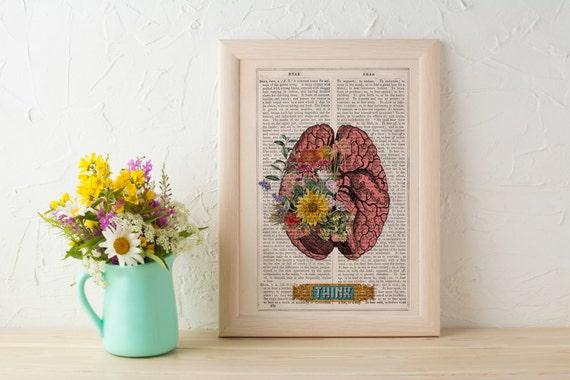 Human Brain THINK funny Science prints on vintage book page- Human Anatomy prints wall decor. gift geek print art SKA131