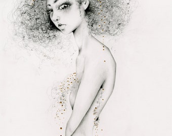 Original Art One of a Kind Drawing Illustration of a Girl Fashion Wall Art for Her Gold Unique Women Drawing Evocative Fine Art Girl Drawing