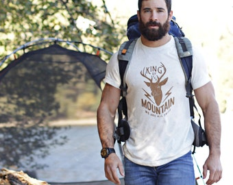 Men's t-shirts - Off white crew neck short sleeve t-shirt for men - Deer - King of the mountain - graphic tees for men - Gifts for him.