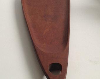 "Digsmed, Denmark, Asymmetrical TEAK Serving Tray, . Large 21.5"" Teak wood tray. Mid century modern, Danish Modern, Eames era.Vintage 1960."