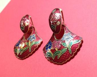 Cloisonné Dangle Earrings Crimson Flowers