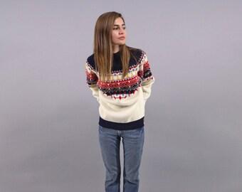 Nordic Sweater / Vintage 70s Fair Isle Sweater / 70s Sweater / Boho Sweater Δ size: S/M