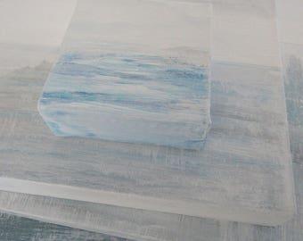 SEA KISS Seawashed Sea Abstract Original Painting 4 x 4 Nordic Coastal French Seaside Beach Minimal Bohemian Zen Art