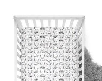 Fitted Crib Sheet Little Man Antler - Antler Sheet -Woodland Crib Sheet- Deer Crib Bedding- Boy Crib Sheet-Organic - Minky deer sheet