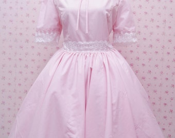 Pink Classic Dress Retro Look With A-Line Skirt - Sweet Pink And White Laces Simple Dress - Custom Size Dress