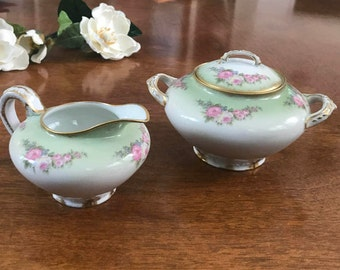 Antique CH Field Haviland Limoges GDA France Sugar Bowl and Creamer, hand painted, gold gilt, pink roses, Green,  blue forget-me-not