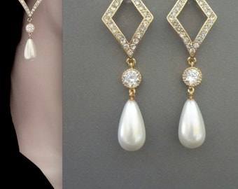 Gold pearl earrings ~ Limited edition - Long, Gold crystal earrings, Brides earrings, Wedding earrings, Dramatic, Modern, OUTSTANDING