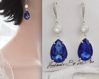Blue sapphire crystal earrings, Sapphire earrings,Swarovski crystal earrings,Crystal teardrop earrings,Sterling wires, Something blue,SOPHIA