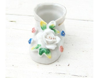 Antique Baby Bootie White Porcelain Figurine Capodimonte Style Multicolor Florals Occupied Japan 1940s