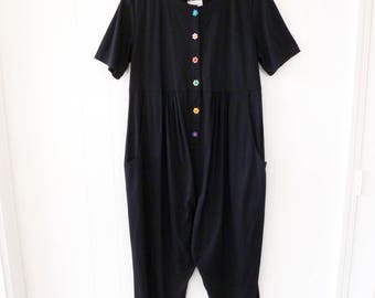 80's Maternity Jumpsuit Romper One Piece Cotton Black Neon Daisy All in One Pantsuit L XL