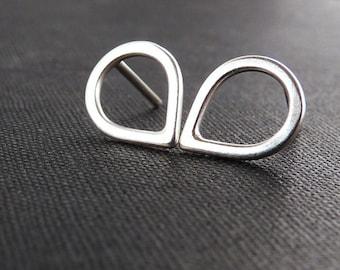 Small silver studs. Dainty drop stud earrings in sterling silver. Minimalist jewelry.