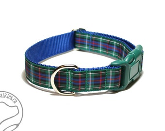 "Rose Clan Tartan Dog Collar - 1"" (25mm) Wide - Blue Green Plaid - Scottish Tartan - Martingale or Side Release - Choice of style and size"