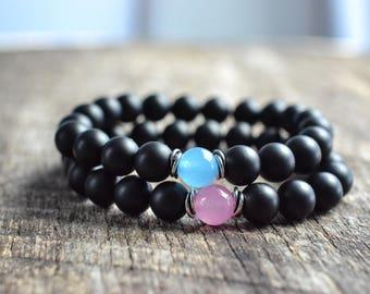 Bead Bracelet Set • Couples Bracelets • Distance Bracelets • Friendship Bracelets • Jade • Stacking Bracelets • Jewelry Set • Gifts
