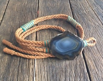 Vintage Leather Belt - Beautiful Braided Leather and Agate Belt By Manett - Southwestern Style Leather Belt With Agate and Turquoise Detail