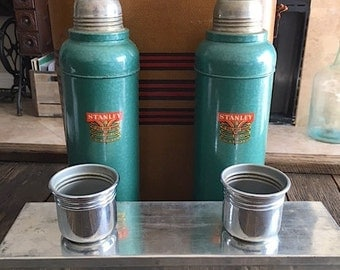 Vintage Dual Stanley Metal Thermoses Picnic Set - Metal Stanley Thermoses Picnic Carrying Case - 2 Large Green Metal Stanley Thermoses