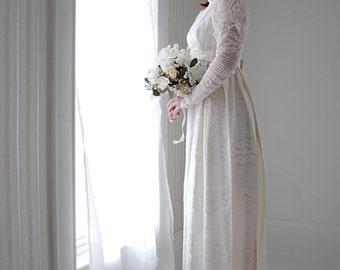Vintage Victorian-style wedding dress, lace long sleeve, empire waist, satin train, boho 1960s S