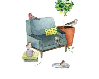 Birdhouse II Giclée Print (Watercolor and Gouache Illustration) 8X10