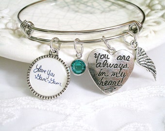 Handwriting Memory Charm Bracelet Remembrance Always in My Heart Angel Wing Birthstone Signature Bracelet Sympathy Jewelry In Loving Memory