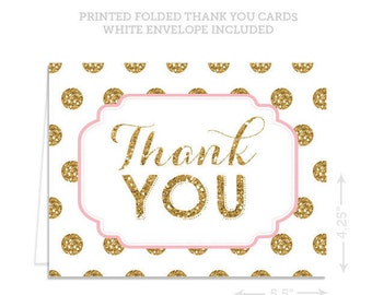 Baby Shower Thank you Cards -  Gold & Pink thank you cards - thank you cards - Wedding thank you cards - Folded thank you cards - A2 Cards