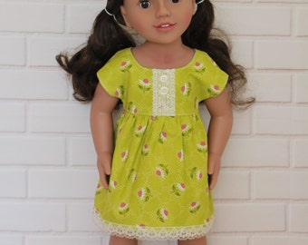 Green Floral Lace Sleeved Dress Dolls Clothes to fit 18 inch dolls to 20 inch dolls such as American Girl & Australian Girl dolls