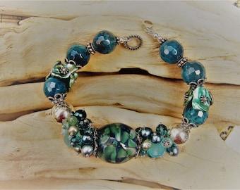 BlueGreen Cluster Bracelet with Floral Lampwork Bead & Keshi Pearls OOAK Handmade MultiGemstone Jewelry Unique Aqua Eyecatching Gift for Her
