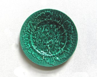 Antique Grape Leaf Majolica Plate, Emerald Green, European, Cheese Plate, Makers Mark, Excellent Condition, Carved Basket Weave