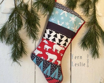 Christmas Stocking Quilted Personalized, Polar Bear Red, Turquoise, Teal, White, Black, Patchwork, Bear, Fox, Squirrel, Rabbit, Holiday