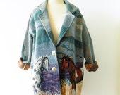 Vintage Equestrian Blazer / 1990s Horse Tapestry Jacket / Slouchy Equestrian Southwest Blazer