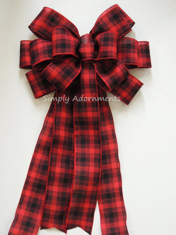 Red Black Cabin Plaid Bow Rustic Country Wreath Bow Red Black Buffalo Plaid Bow Country Tree Topper bow Christmas Lodge Bow Tree Topper bow