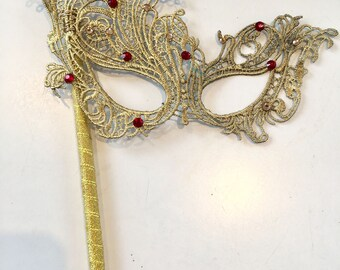 Gold Mask- Mask on a stick- Lace Mask -Rhinestone Mask- Masquerade Mask- Masked Ball-Costume party- Masquerade Ball- Mardi Gras-Wedding Mask