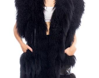 1980s Jona Lamb And Fox Fur Leather Vest Size: XS-XL