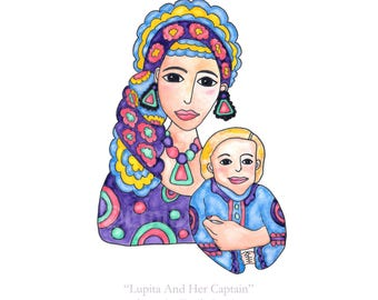 Painting / Art Print / Mother Son / Mary Jesus /  Religious Icon / Mom Boy / Boho Earrings Scarf / Baby Nursery Art  / Mother's Day Gift