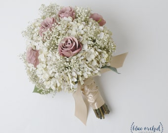 Bridal Bouquet, Rustic Bouquet, Dusty Rose Bouquet, Baby's Breath, Wedding Bouquet, Silk Flower Bouquet, Wedding Flowers, Mauve, Silk Flower