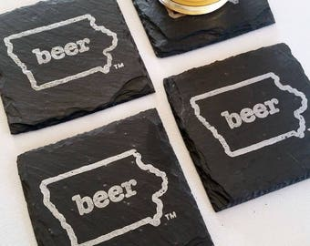 Iowa Craft Beer Tent Slate Coasters - Mancave, Garage, Fathers Day, Beer Lover, Mens Gift