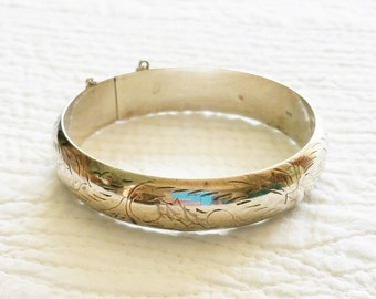 Vintage Romantic Home Filigree Detailed Sterling Silver Bangle Bracelet, Olives and Doves