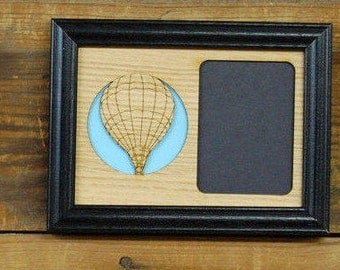 5x7 Hot Air Balloon Picture Frame, Laser Engraved Picture Frame, Holds 3x4 Picture