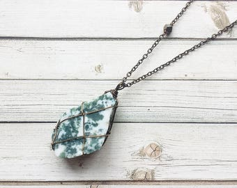 Tree Agate Necklace | Wire Wrapped Tree Agate | Wire Wrapped Crystal Necklace | Agate Necklace | Crystal Necklace | Tree Agate | Crystals |