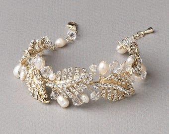 Floral Gold Wedding Bracelet, Rhinestone Bracelet, Pearl Bracelet, Freshwater Pearl Bracelet, Swarovski Crystal Bracelet, Bride ~JB-4821-G