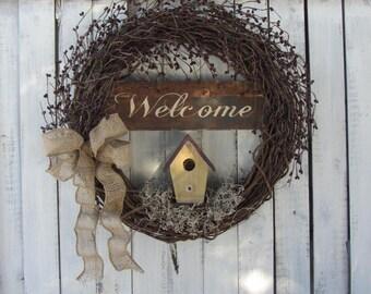 Spring & Summer Wreath, Rustic  Wreath, Year Round Wreath, Country Wreath, Primitive Wreath, Birdhouse Spring Wreath