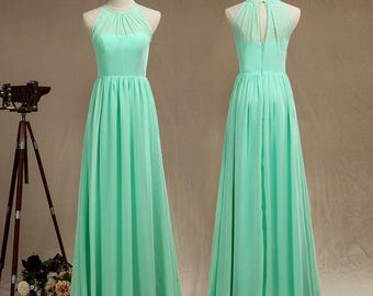 A-Line/Princess Scoop Neck Floor-Length Chiffon Bridesmaid Dress,Mint Halter-neck Sleeveless Prom Dress with Ruffle,Long Ball Gown