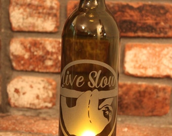 Sloth -  Wine Bottle Lantern (Stand & Candle Included)