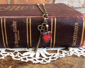 Skeleton Key Assemblage Necklace heart and key charm necklace heart necklace