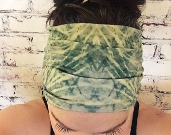 Extra Wide Yoga Headband - Tie Dye - Emerald Green & Lemon/Lime