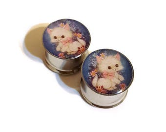 Cute Fluffy Cat Plugs Gauges 0g - 2 Inches Double Flare or Single Flare