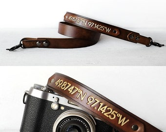 Leather Camera Strap, Personalized Latitude and Longitude Coordinates, Photography Gift, Father's Day, DSLR SLR, Anniversary Gift, Tech Gift